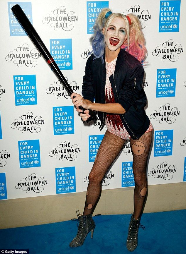 Ready to cause some havoc: Model Poppy Delevingne dressed as Harley Quinn from Suicide Squad for the UNICEF Halloween ball in London on Thursday night