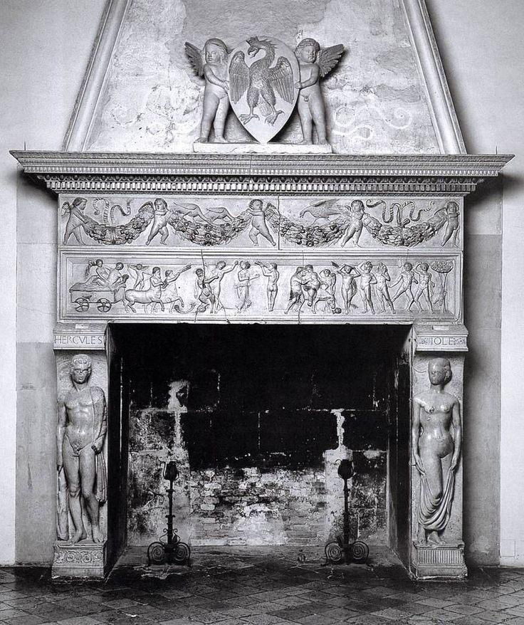 MICHELE DI GIOVANNI DA FIESOLE Fireplace 1450s Stone Palazzo Ducale, Urbino