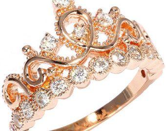 Rodio 925 anillo corona de plata esterlina / anillo de | Etsy