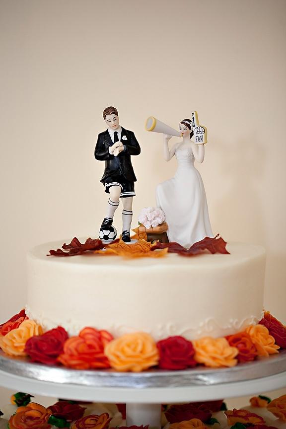 Soccer Player Groom Wedding Cake Topper