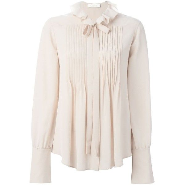 Chloé Albaster Bow Detail Shirt ($800) ❤ liked on Polyvore featuring tops, blouses, shirts, chloe, off white, bell sleeve shirt, silk blouses, long sleeve silk blouse, collared blouse and silk shirt