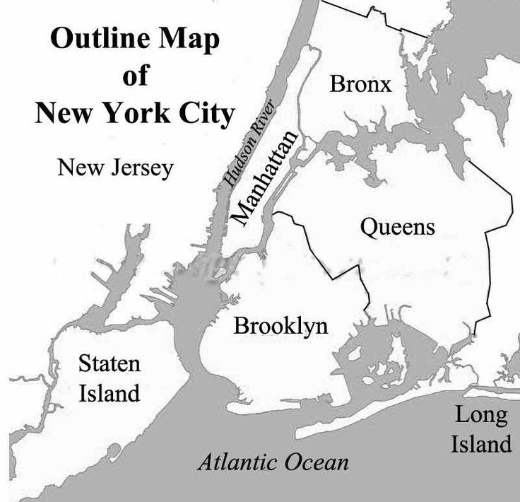New York New York City: Outline Map Of New York City