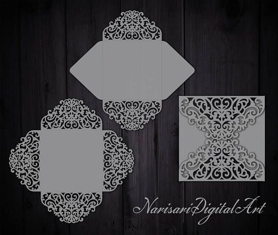 Wedding invitation four fold - (svg dxf ai cdr eps) Card Pattern Templates - Laser Cut - Cricut, Silhouette Cameo - Instant Download