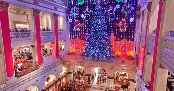 A perfect family outing, the Macy's Christmas Light Show has been a Philadelphia tradition since 1956. More than 100,000 lights combine to create snowflakes, ballerinas and reindeer floating beyond the four-story-high velvet curtain in the Grand Court.