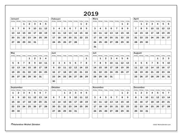 KALENDER 2019 GRATIS PRINT