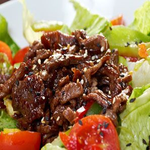 Asian Beef Salad A classic asian beef salad modified slightly to reduce the carbohydrate and sugar levels of the marinade. You won't miss the calories and your body will thank you!