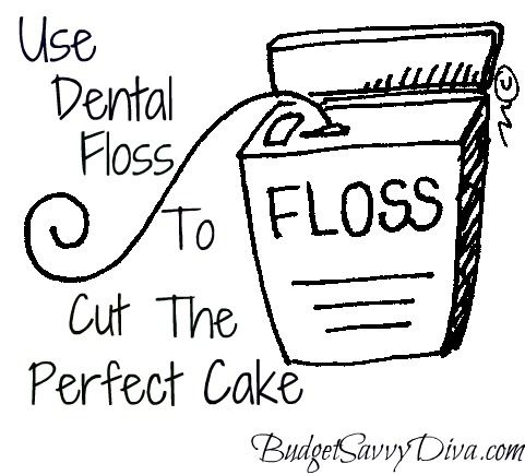 Dental floss the multi-functional tool.  I use it to sew things that im really hard on like diaperbags n jeans: Good Ideas, Cakes Cut, Cakes Slices, Dental Floss, Flavored Floss, Duh Moments, Cut Cakes, Perfect Cakes, Mint Flavored