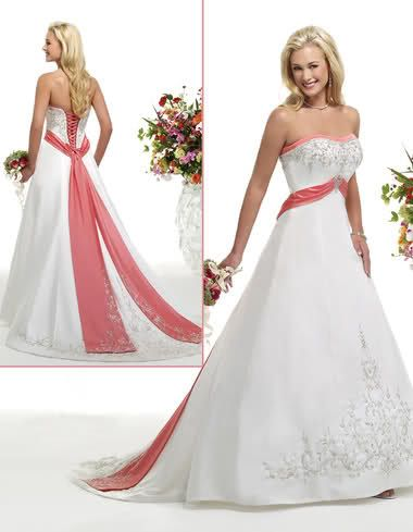 Wedding dress with coral posted on january 7 2012 by for Coral bridesmaid dresses for beach wedding