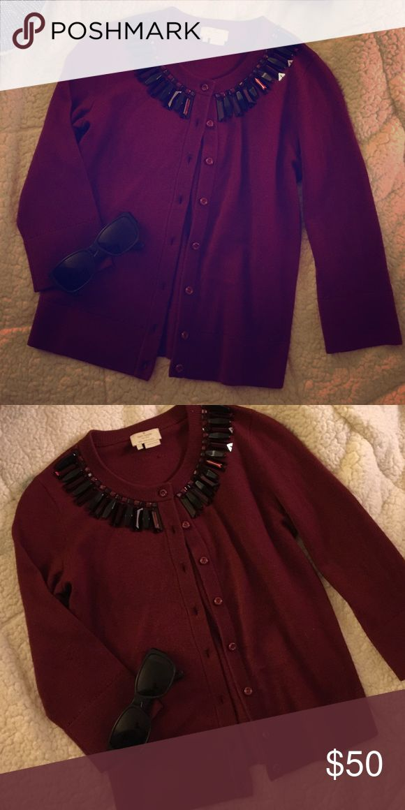 Burgundy and black Kate spade cardigan size Small Kate Spade Wool and cashmere blend button down cardigan with an embellished neckline! Great for Fall, winter and Spring. Pair it with a white collared button down and jeans or chinos for a chic look! Oh and don't forget your sunglasses! Xoxo, Joyce kate spade Sweaters Cardigans