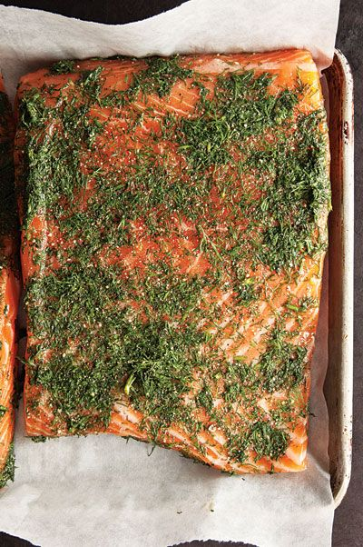 Flavored with pepper, cloves, and dill, the classic cured salmon in this Gravadlax dish requires at least 5 days to cure, so be sure to plan ahead, and be sure to use the best-quality salmon you can find.