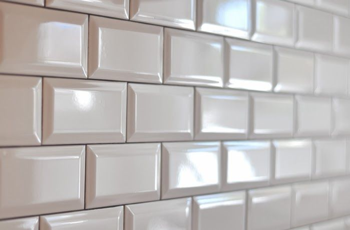 beveled subway tiles, Pewter grout. Main bathroom shower tile pattern.