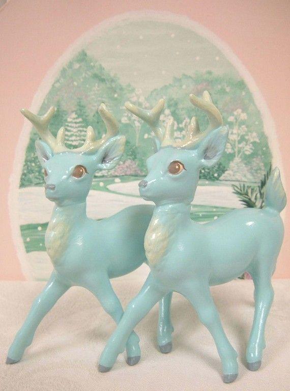 vintage aqua woodland reindeer figurines - gorgeous!