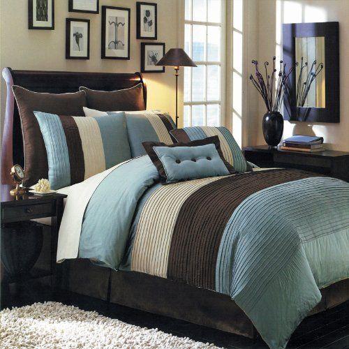 Hudson Teal Blue Full size Luxury 12 piece comforter set includes Comforter, bed skirt, pillow shams, decorative pillows, flat sheet, fitted sheet, standard pillowcases.