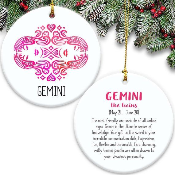 Gemini Zodiac Sign Double Sided Ornament Ceramic The Twins Etsy Gemini Zodiac Zodiac Signs Gemini Engagement Ornaments
