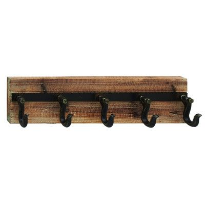ABCHomeCollection Wood And Iron Wall Hook Rack