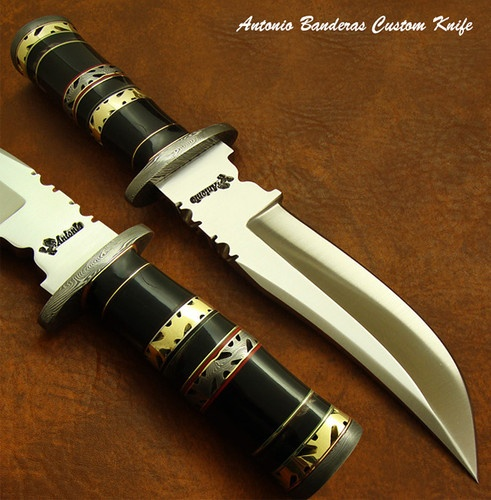 Antonio Banderas 1-OF-A-KIND CUSTOM BOWIE KNIFE | STUNNING FILE WORK | DAMASCUS