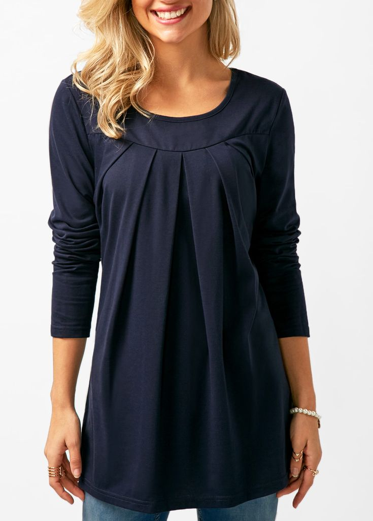 Navy Blue Long Sleeve Pleated T Shirt   Rosewe.com - USD $27.70
