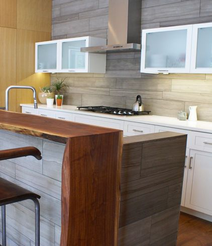 Horizontal Marble Tile Live Edge Wood Island Modern Kitchen By Sara Cukerbaum