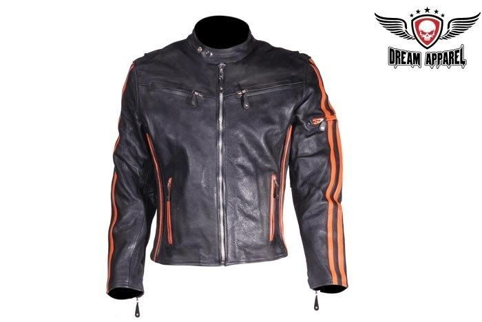 Mens Racing Leather Motorcycle Jacket With Orange Stripes