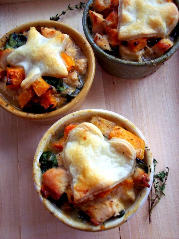 "Individual "" Lighter"" Chicken Pot Pies"