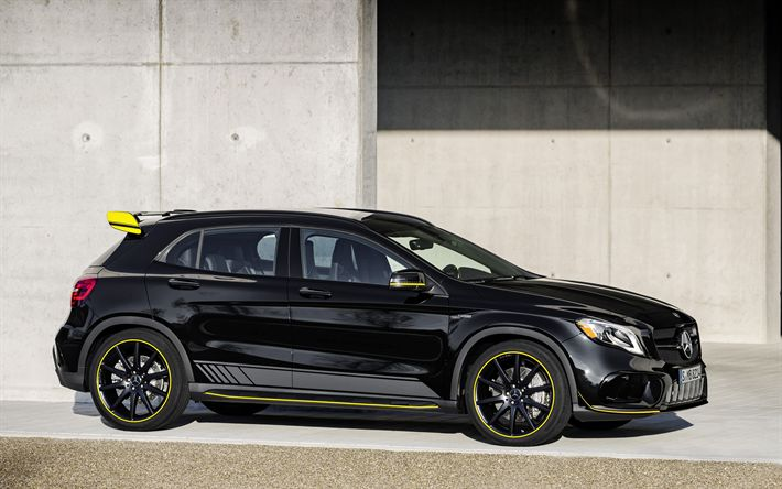 Download wallpapers Mercedes-AMG GLA 45, 2018, 4MATIC, Yellow Night Edition, X156, 4k, tuning, hatchback, new cars, black GLA, Mercedes