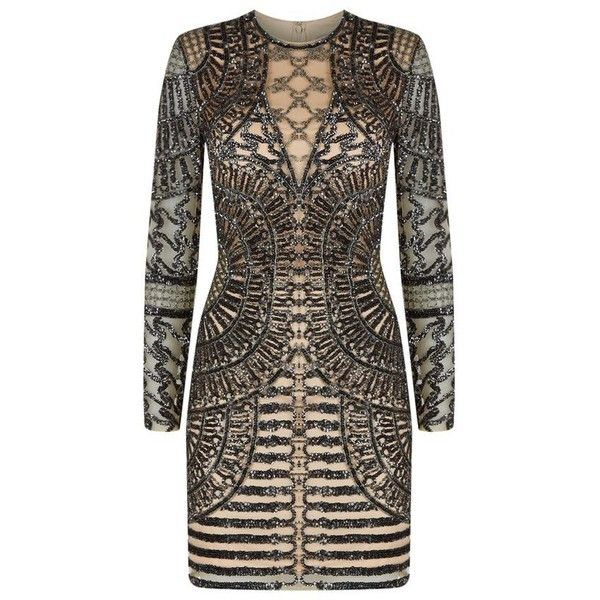 Jovani Aztec Bead Mini Dress (€1.815) ❤ liked on Polyvore featuring dresses, long sleeve short dress, long sleeve cocktail dresses, sequin dresses, long sleeve dress and see-through dresses