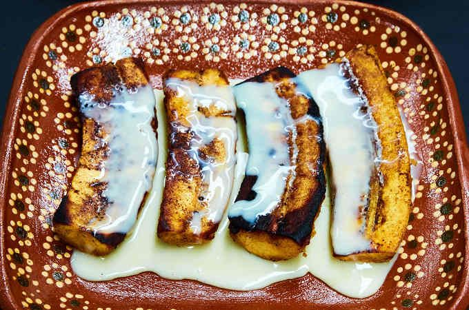 Fried Bananas With Lechera Recipe Recipe Plantain Recipes Sweet Fried Bananas Fruit Recipes