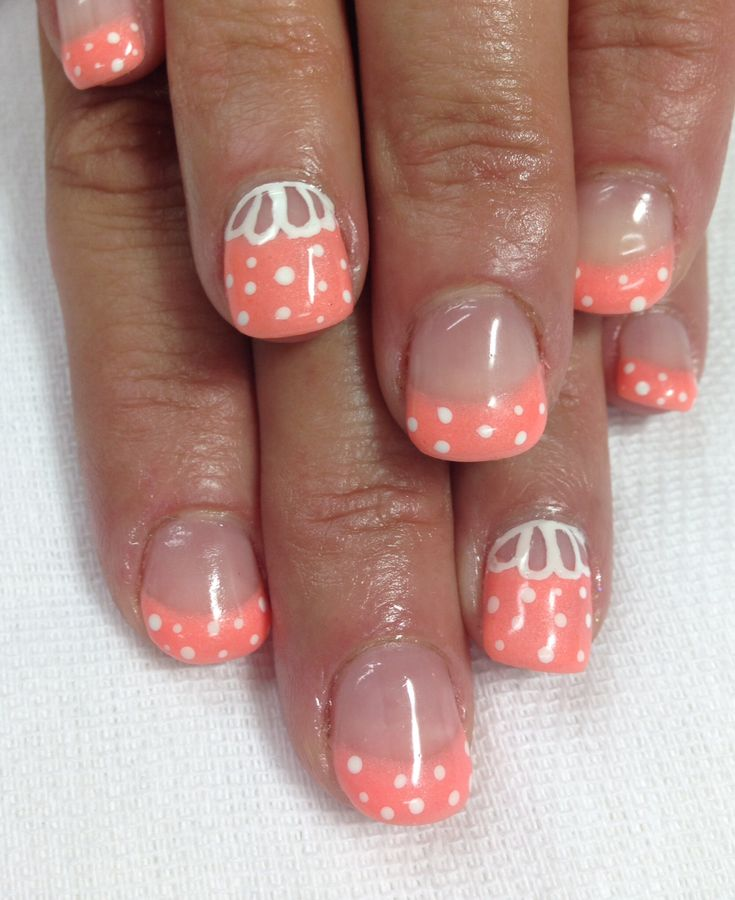 Summer coral gel nails!! Stinkin' CUTE!! I just love them, I'm going to have to mine like this!!! Super coral color for a summer tan!! All done with non-toxic odorless gel.