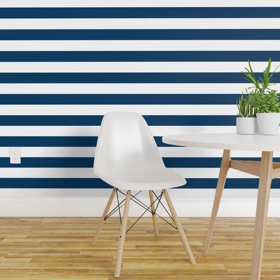 Horizontal Wallpaper Stripes Lg Navy Blue By Misstiina Etsy Striped Wallpaper Navy Striped Wallpaper Home Decor