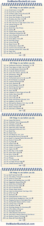 100 things to see before you die.