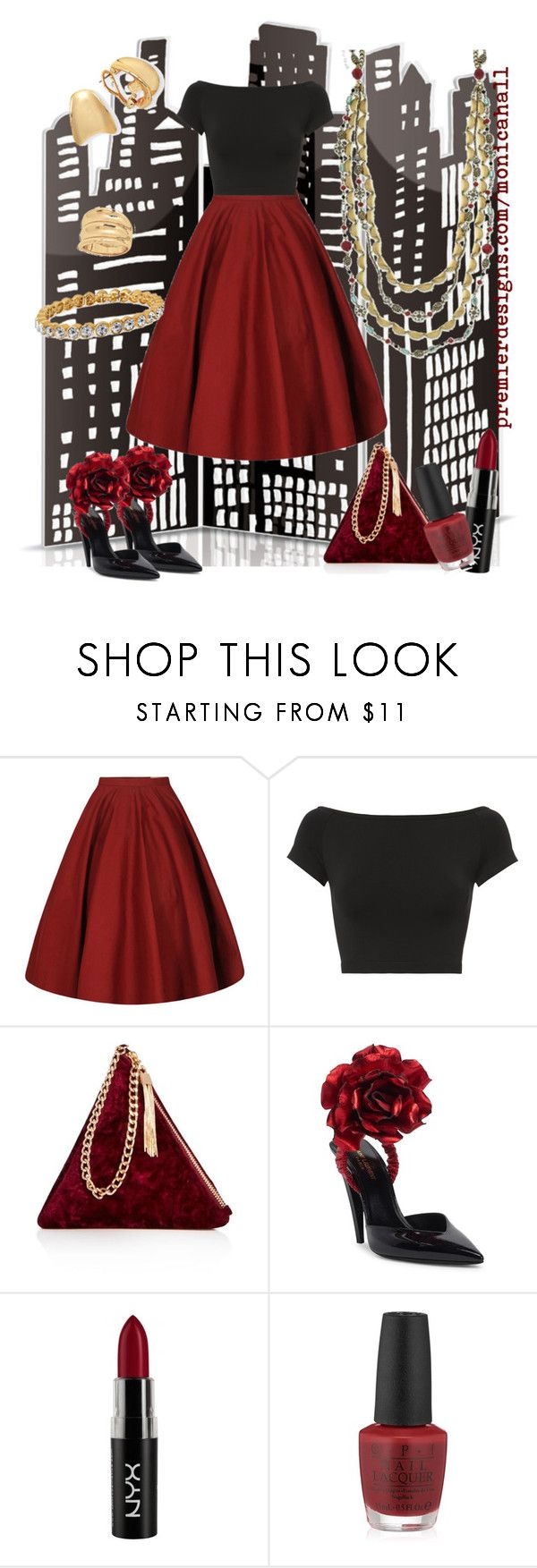 """Maroon Skirt"" by monicaruthhall ❤ liked on Polyvore featuring Helmut Lang, Street Level, Yves Saint Laurent, NYX and OPI"
