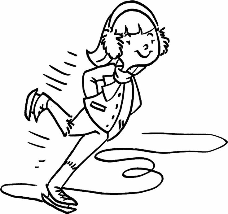 The Boy Enjoy Ice Skating Coloring Page