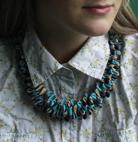 Unique blue-black-ecru satin necklace