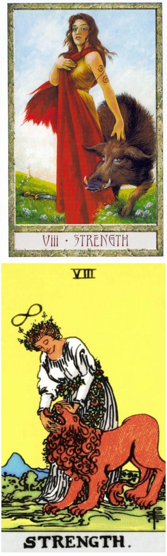 STRENGTH: bravery and self-doubt (reverse). Druid Craft Tarot deck and Rider Tarot deck: tarot card reading for today, tarotnano and how many tarot cards are there. Best 2017 tarot altar spiritual and ritual. #tarot #ios #androidapp
