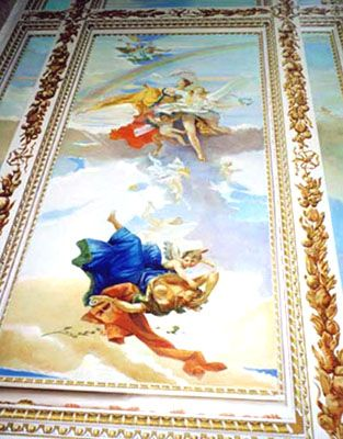 Tiepolo ceiling mural with trompe l'oeil decorated coffering. U. N. Plaza NYC.
