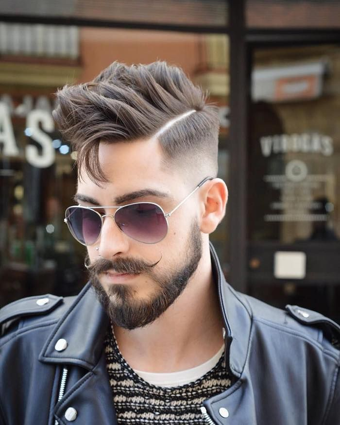 Mens Undercut Hippie Stil Schnurrbart Mustache Bart Sonnenbrille Lederjacke Idee Haarschnitt Manner Coole Frisuren Frisuren Lange Haare Manner