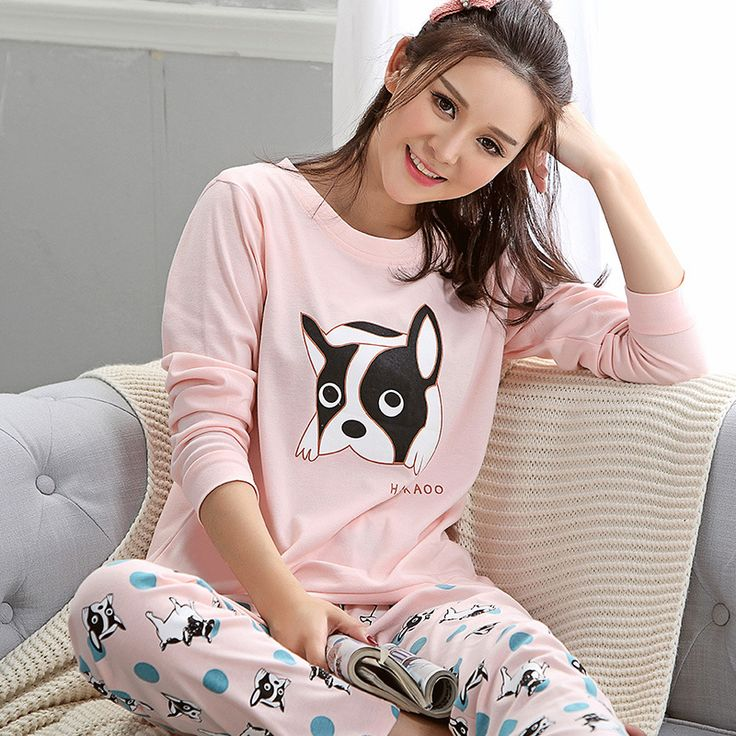 2016 Hot Sale Women Cute Dog Printing Pajama Sets Sleepwear M L XL XXL Long Sleeve Homewear Cotton Nightwear A9015