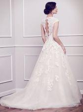 Krajkové svatební šaty PL1578 se zahaleným dekoltem, bílé, velikost 36 - svatební salon Svatba snů, Praha