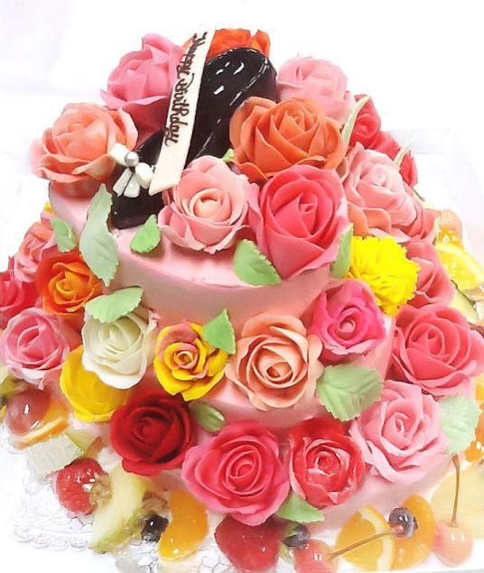 バラの3段デコレーションケーキ  #バラ #バラのケーキ #デコレーションケーキ #誕生日ケーキ #バースデーケーキ #オーダーケーキ #オーダーメイド #3Dケーキ #rose #bouquet #flower #rosescake #ordercake #beautiful #beautiful #通販 #宅配 #全国発送 #pinterest