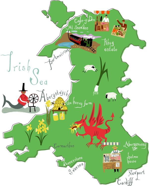 Its Wales week on MapLogic's Pinterest and we love this quirky map of Wales #Wales #Daffodil #MapLogic