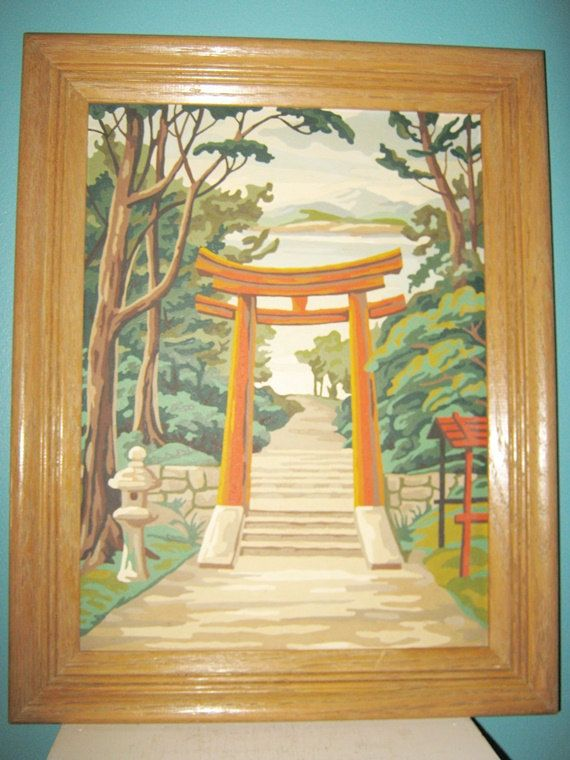 Asian Paint By Number Painting, Mid Century Craft, Framed by Junkblossoms on Etsy