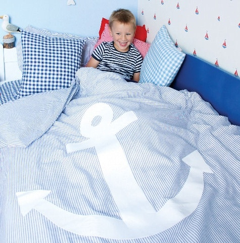 Navy, marine, anchor, bedding