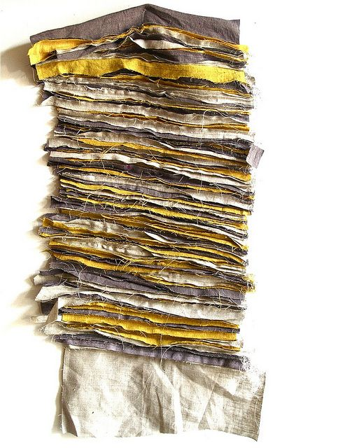 Textile Strips - colour arrangement, frayed ends & texture; textiles surface design // Carol Gilbert