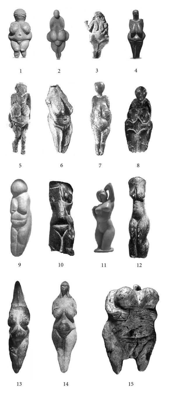 Venus figurines from around the world; small and portable sculptures emphasizing the female form, carried by nomadic tribes