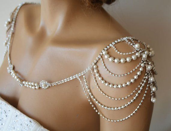 Hochzeit Schulterkette, Perle Schulterschmuck für Braut, Hochzeit Kleid Schulter Kristallhalskette, Körper Zubehör für Hochzeitskleid
