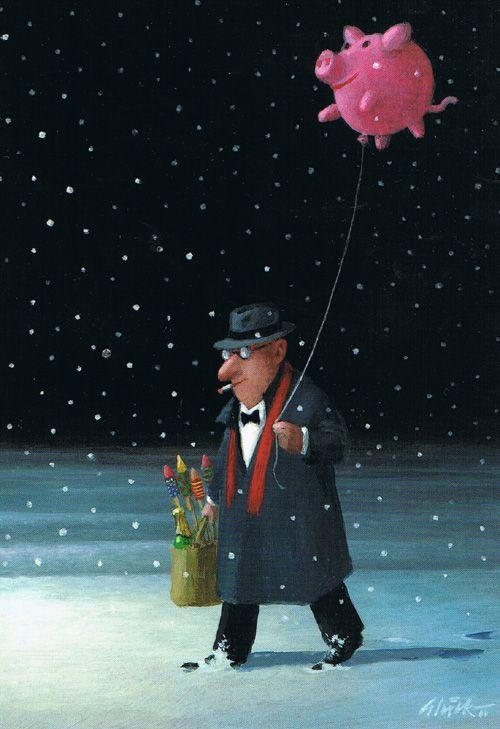 Ballonnenvarkentje van Gerhard Glück op postkaart