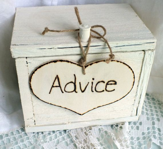 Advice Card Box Rustic Wedding Decor by ButterBeanVintage on Etsy