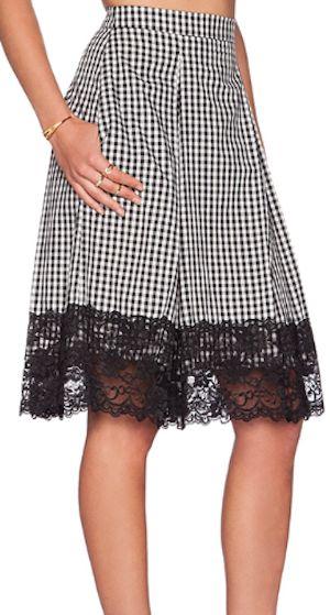 darling lace trim midi skirt