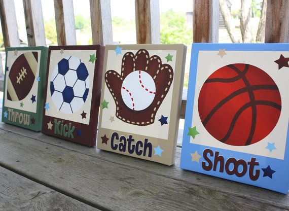 Set of 4 All Star Sports Boys Bedroom 8x10 Stretched Canvases