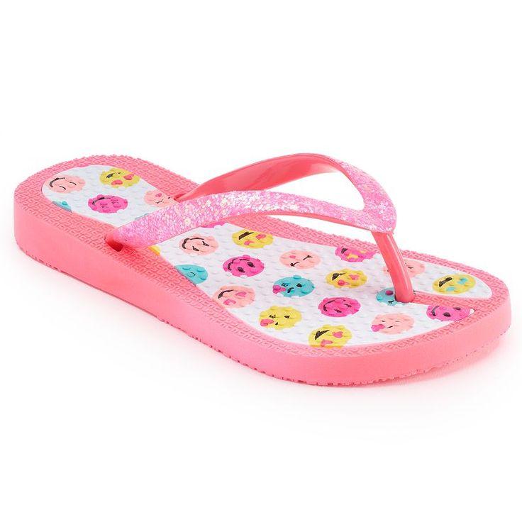 Girls 4-16 Smiley Emoji Jelly Flip Flops, Dark Pink